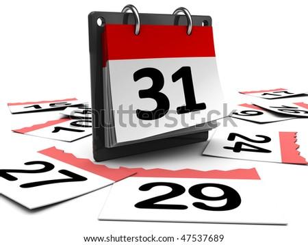 3d illustration of day calendar over white background