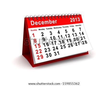 3d illustration of december 2013 calendar over white background
