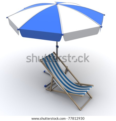 3d illustration of deck chair