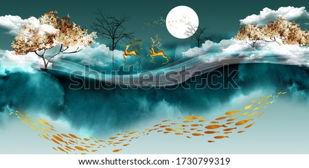 3d illustration of deer walking across the forest. Luxurious abstract art digital painting for wallpaper