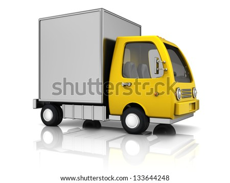 3d illustration of delivery truck over white background