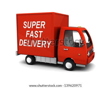 3d illustration of delivery truck with 'super fast delivery' sign