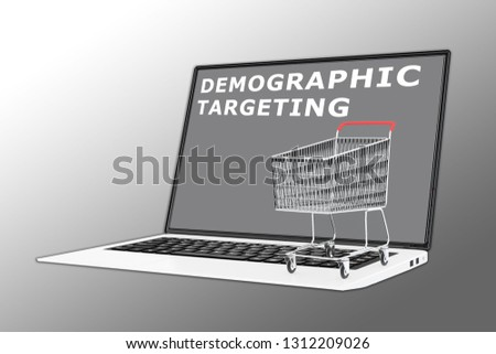 3D illustration of DEMOGRAPHIC TARGETING script with a supermarket cart placed on the keyboard