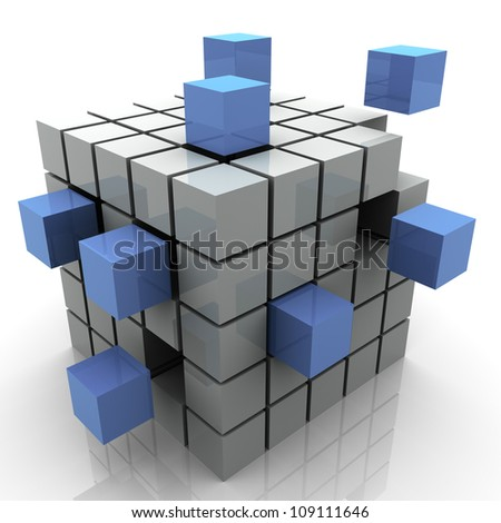3d Illustration of design created by cubes