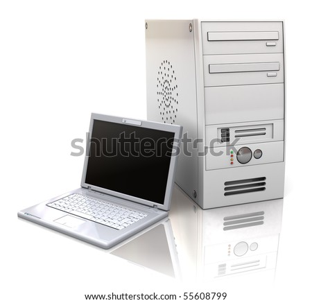 3d illustration of desktop and laptop computers, over white background