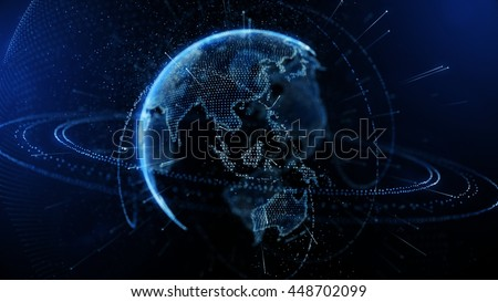 3d illustration of detailed virtual planet Earth. Technological digital globe world