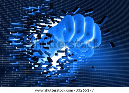 3D illustration of digital, wireframed hand punching and breaking through a brick wall, metaphor for technological breakthrough and revolution - stock photo