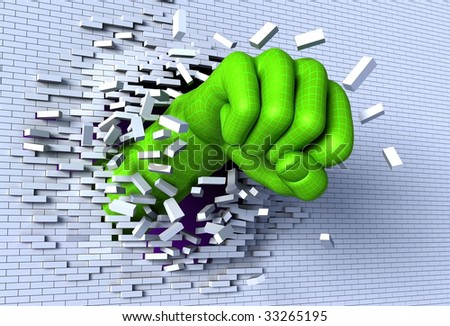 3D illustration of digital, wireframed hand punching and breaking through a brick wall, metaphor for technological breakthrough and revolution
