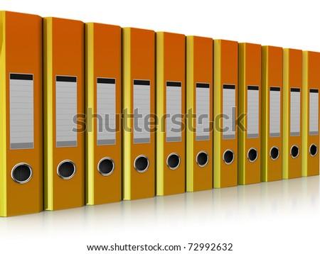 3d illustration of document folders row, over white background
