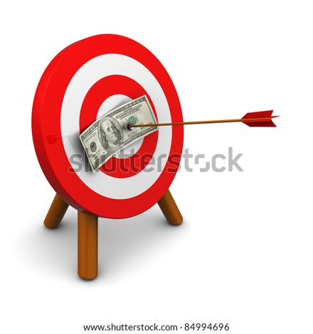 3d illustration of dollar in center of archery target