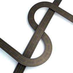 3d illustration of dollar shaped asphalt road