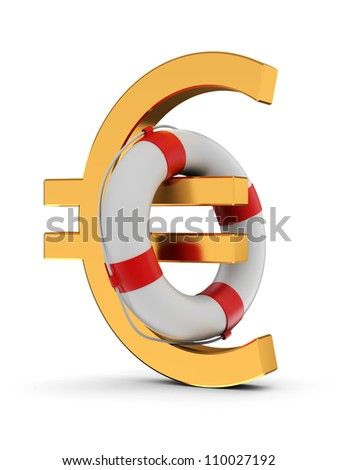 3d illustration of dollar sign with lifebelt isolated on white background