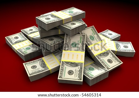 3d illustration of dollars heap over dark red background