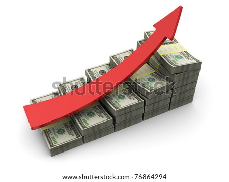 3d illustration of dollars rising charts with red arrow - stock photo
