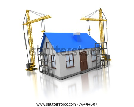 3d illustration of domestic house construction