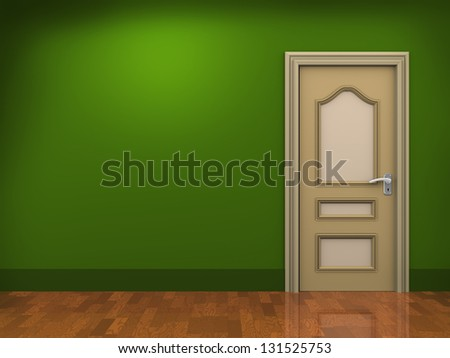 3d illustration of door and empty room. - stock photo