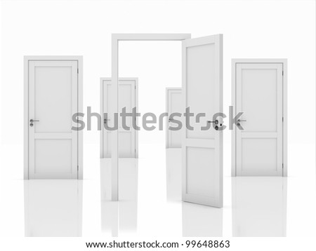 3d illustration of doors concept isolated on white background