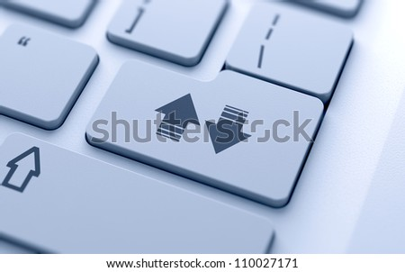 3d illustration of download and upload arrows button on keyboard with soft focus