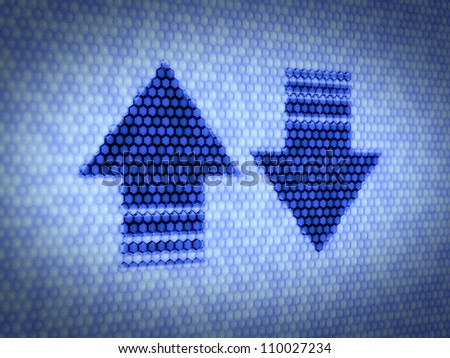 3d illustration of download and upload arrows on computer screen