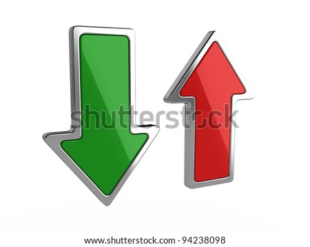 3d illustration of download and upload arrows on white background
