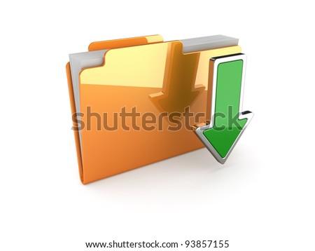 3d illustration of download folder on white background