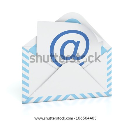 3D illustration of e-mail envelope on white background