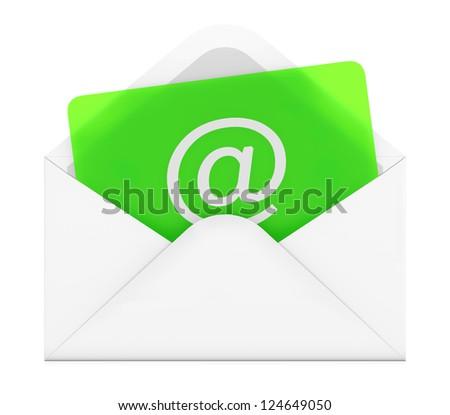 3D illustration of e-mail envelope on white background