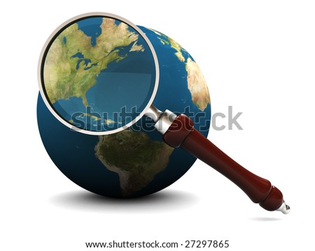 3d illustration of earth and magnify glass, icon, background