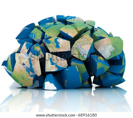 3d illustration of earth destroyed to peaces