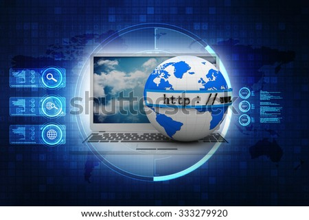 3d illustration of earth globe and laptop