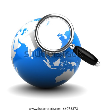 3d illustration of earth globe and magnify glass, internet search concept - stock photo