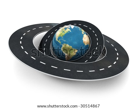 3d illustration of earth globe and roads around it