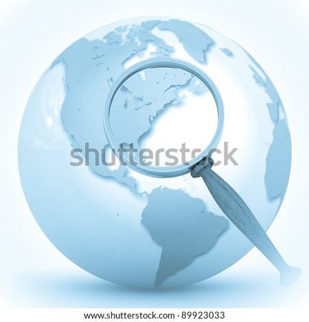 3d illustration of earth globe (USA and Canada) with magnify glass