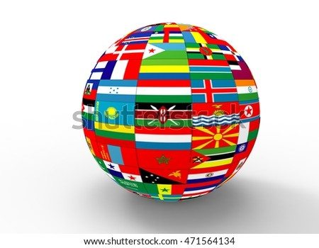 Royalty free flags globe vector sphere with flags 119419429 stock 3d illustration of earth globe with flags white background isolated icon for game web freerunsca Image collections