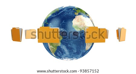 3d illustration of Earth globe with flying folders around