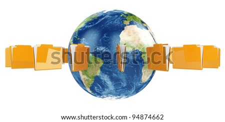 3d illustration of Earth globe with flying folders around. Elements of this image furnished by NASA