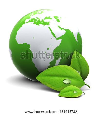 3d illustration of earth globe with green leaf, over white background