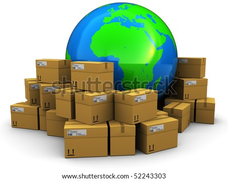 3d illustration of earth globe with mail packages