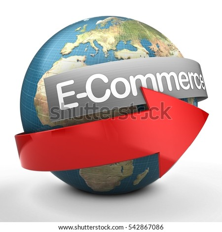 3d illustration of Earth over white  with e-commerce text on steel banner