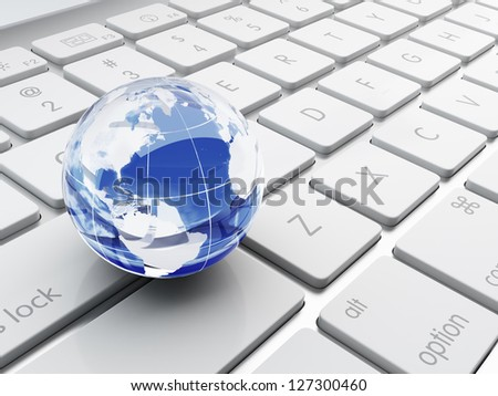 3d illustration of Earth planet on the computer keyboard