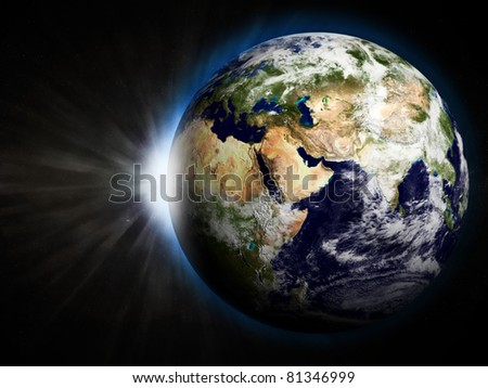 3D Illustration of Earth with Rising Sun