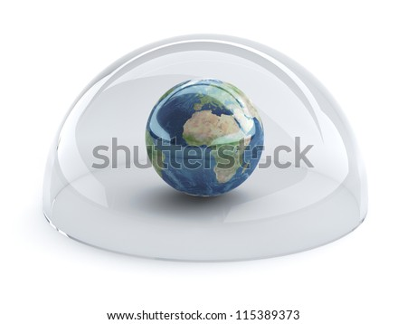 3d illustration of Earth with shield. Internet security concept.Elements of this image furnished by NASA