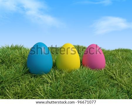 3d illustration of Easter eggs in green grass