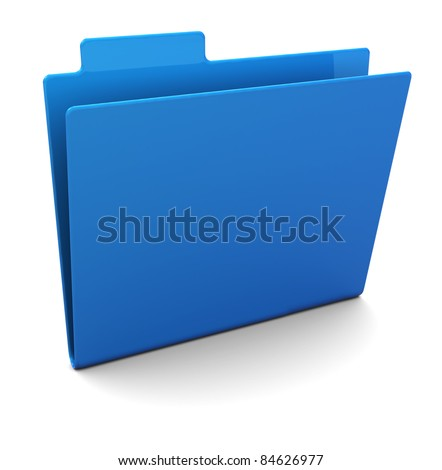 3d illustration of empty blue folder