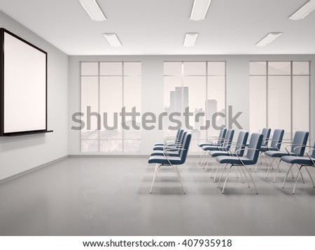 3d illustration of empty conference room with a whiteboard for seminar