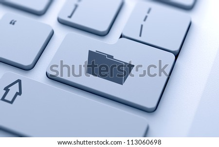 3d illustration of empty folder sign button on keyboard with soft focus