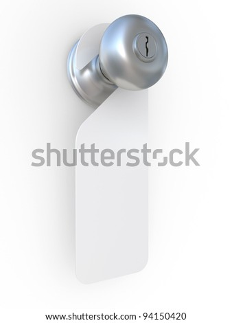 3d illustration of empty label on a door handle