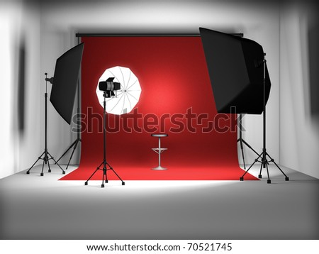 3d illustration of empty photo studio