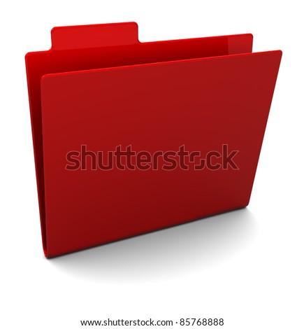 3d illustration of empty red folder over white background
