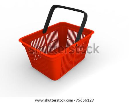 3D illustration of empty red plastic shopping basket